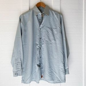 TED BAKER Silk Button Front Casual Shirt Blue 2 S